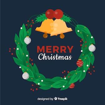 Bell-weihnachtskranzhintergrund