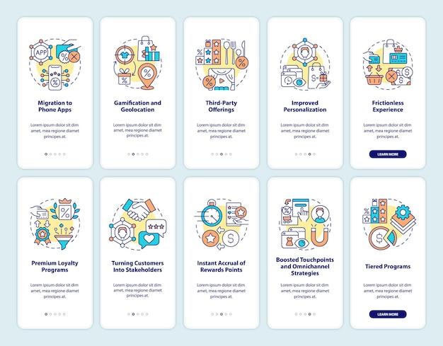 Belohnungssystem für kunden, die den bildschirmsatz der mobilen app an bord nehmen. trends walkthrough 5 schritte grafische anleitungen mit konzepten. ui-, ux-, gui-vektorvorlage mit linearen farbillustrationen