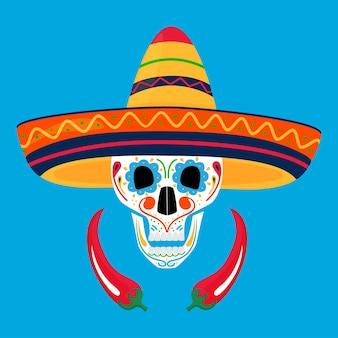Bemalter zuckerschädel in sombrero und mit chili. tag der toten in mexico. dia de los muertos.