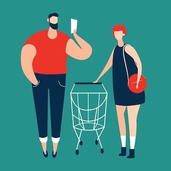 Bemannen sie checkliste und frauen, die einkaufslaufkatze tragen
