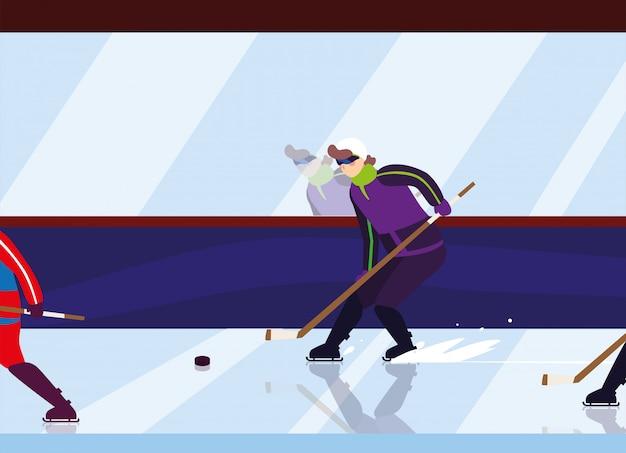 Bemannen sie das spielen des hockeys, hockeyspieler mit hockeyschläger, eishockeykobold