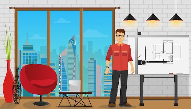 Bemannen sie den architekten, der mit plan am büro oder am studio arbeitet.