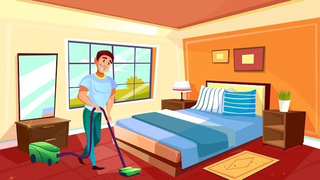 Bemannen sie reinigungsraumillustration des househusband oder des collegebots mit staubsauger