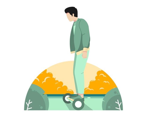 Bemannen sie reitenhoverboard auf der straßenvektorillustration