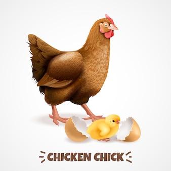 Bemuttern sie henne mit eben ausgebrütetem küken mit realistischem hühnerlebenszyklus-elementplakat der eierschalennahaufnahme