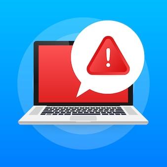 Benachrichtigung laptop-benachrichtigung. gefahrenfehlerwarnungen.