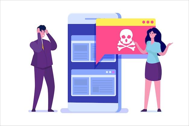 Benachrichtigung oder warnung über malware-trojaner von smartphone-viren