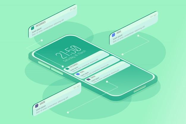 Benachrichtigungen auf der smartphone-isometrie
