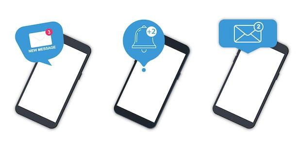Benachrichtigungen mit telefon. ungelesene e-mail-benachrichtigung. neue nachricht auf dem smartphone-bildschirm