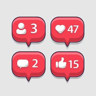 Benachrichtigungsfeld mit dem status der follower in den sozialen medien