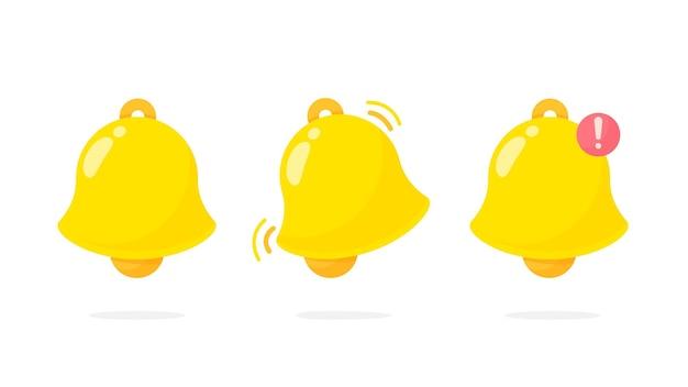 Benachrichtigungsglockensymbol. die goldene alarmglocke zittert, um zu alarmieren.