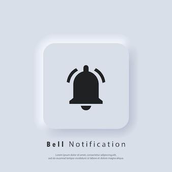 Benachrichtigungssymbol. klingelbenachrichtigung und tonsymbole. benachrichtigungsglockensymbol für eingehende posteingangsnachrichten. klingelton für wecker und smartphone-anwendungswarnung. vektor-eps 10. neumorphe ui-ux.