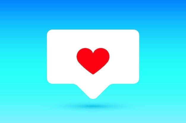 Benachrichtigungszeichen wie sprachblase. wie symbol mit herz, wie und schatten für soziales netzwerk