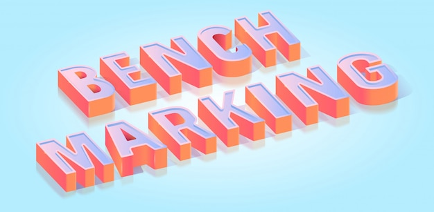 Benchmarking text title isometric