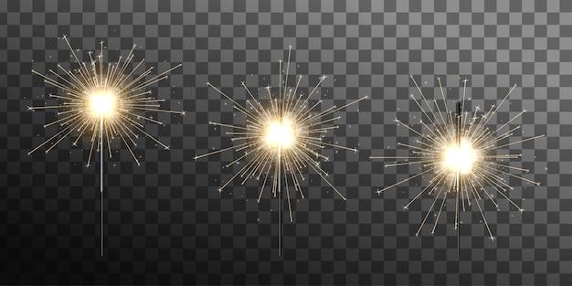 Bengalische weihnachtsbeleuchtung eingestellt. verschiedene stadien der wunderkerzenverbrennung. bengalisches licht. wunderkerze