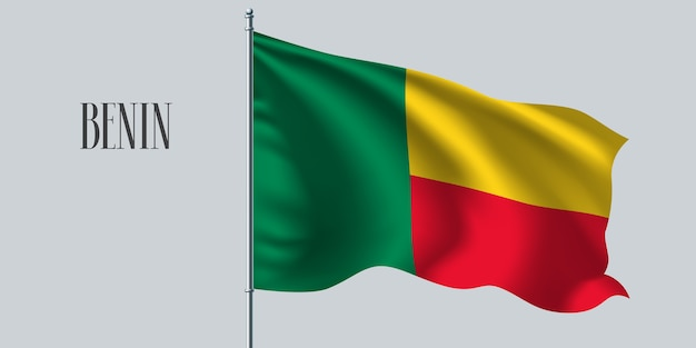 Benin weht flagge auf fahnenmastillustration