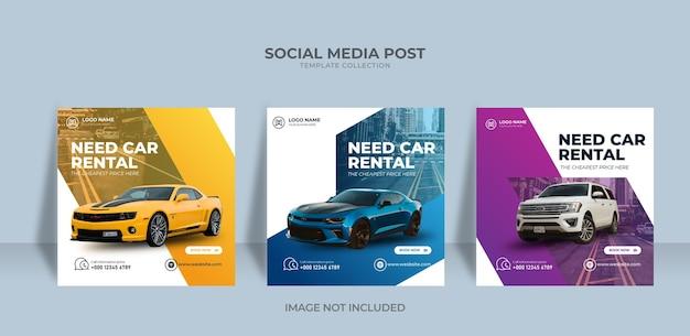 Benötigen sie eine instagram-social-media-post-banner-vorlage für die autovermietung