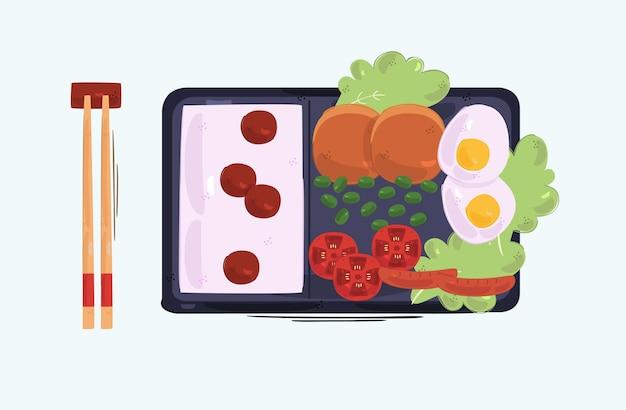 Bento box hintergrund illustration