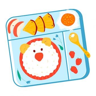Bento des asiatischen japanischen stils der schulkinder, gesundes frühstück für kinderbox lokalisiert auf weißer karikaturillustration. lebensmittel reis bärenkopf.