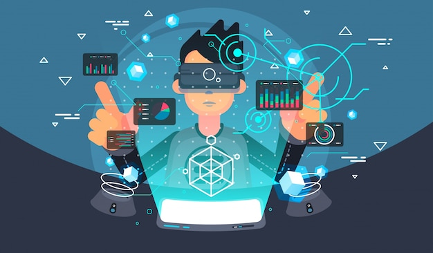 Benutzer der virtuellen realität. vr tech. futuristische benutzeroberfläche.