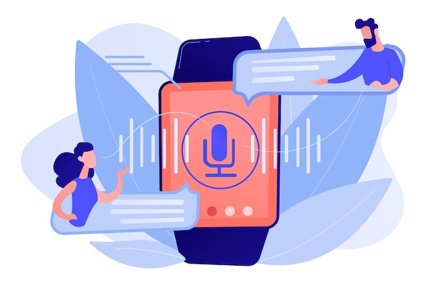 Benutzer, die sprache mit smartwatch übersetzen. digitaler übersetzer, tragbarer übersetzer, elektronisches sprachübersetzerkonzept isolierte illustration des rosa korallenblauvektors