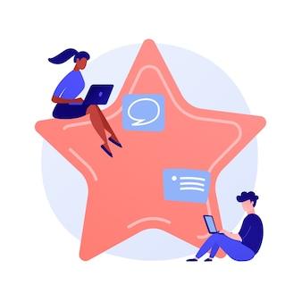 Benutzer-feedback. internet-fragebogen, online-umfrage, ranking-system. meinungsäußerung der service-kunden. benutzer mit laptops zeichentrickfiguren.