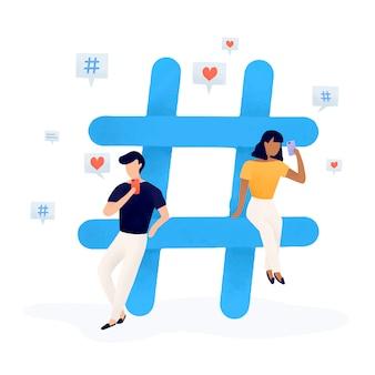 Benutzer mit einem hashtag-vektor