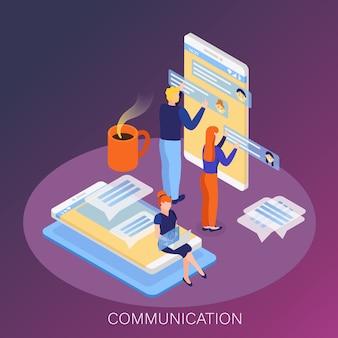 Benutzer von schnittstellensystemen kommunizieren pläne, die die interaktion von arbeitsgruppen koordinieren und den isometrischen kompositionshintergrund der produktion steuern Kostenlosen Vektoren