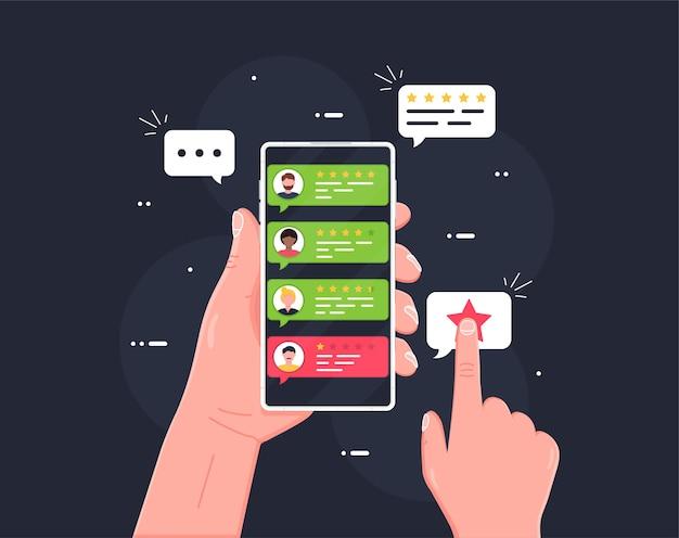 Benutzerbewertungs-lesezeichen und bewertungssymbol in der blase über dem mobiltelefon
