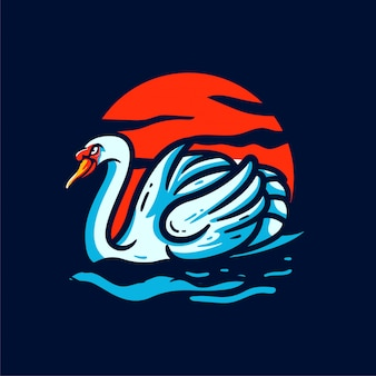 Benutzerdefinierte illustration des schwan des sonnenmaskottchenlogos