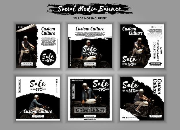 Benutzerdefinierte motorrad-social-media-banner-template-pack