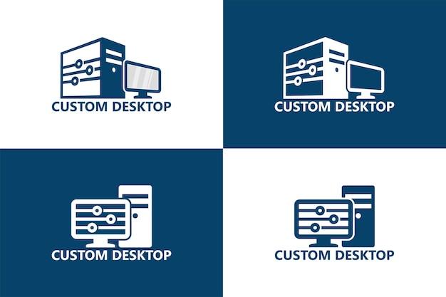 Benutzerdefinierter desktop-computer-logo-vorlage premium-vektor
