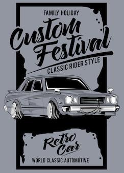 Benutzerdefiniertes festival, illustration eines klassischen rennwagens
