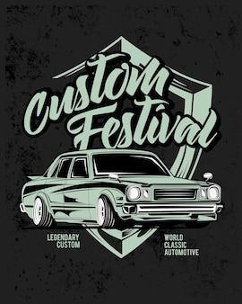 Benutzerdefiniertes festival, oldtimerillustration