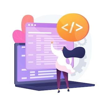 Benutzerdefiniertes skript. website-optimierung, codierung, software-entwicklung. weibliche programmierer-zeichentrickfigur, die javascript, css-code hinzufügt. vektor isolierte konzeptmetapherillustration