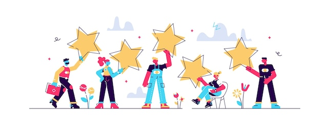 Benutzererfahrung feedback flache illustration. menschen mit sternen isoliert auf weiß. kunden, die produkt, service bewerten. überprüfung von verbraucherprodukten. konzept zur bewertung der kundenzufriedenheit.