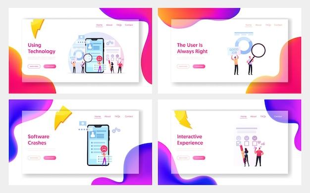 Benutzererfahrung, kundenbewertung, bewertung landing page template set
