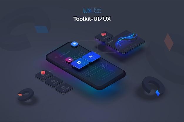 Benutzererfahrung smartphone-modell auf schwarzem hintergrund mit interaktiver benutzeroberfläche der prozess der erstellung einer mobilen anwendung website-drahtmodell für mobile apps mit aktiven ebenen und links