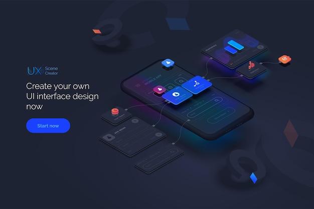 Benutzererfahrung smartphone-modell auf schwarzem hintergrund mit interaktiver benutzeroberfläche