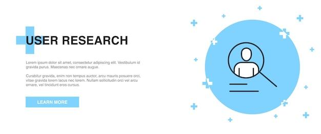 Benutzerforschungssymbol, bannerentwurfs-vorlagenkonzept. design der benutzerforschungszeilen-illustration