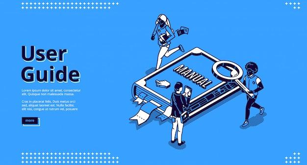 Benutzerhandbuch isometrische landingpage, personen und buch