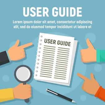 Benutzerhandbuch papiervorlage, flachen stil