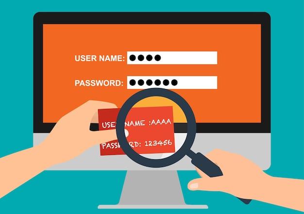 Benutzername und passwort in papier für den anmeldecomputer