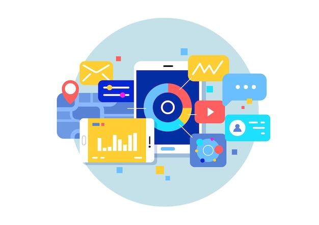 Benutzeroberfläche, anwendungsentwicklung und benutzeroberfläche, ux. social networking-dienste und smartphone-apps.