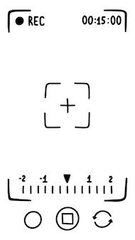 Benutzeroberfläche der kamerasucher-anwendung auf dem smartphone-bildschirm filmmodus skizze im doodle-stil