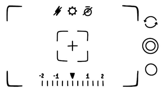 Benutzeroberfläche der kamerasucher-anwendung auf dem smartphone-bildschirm fotomodus skizze im doodle-stil