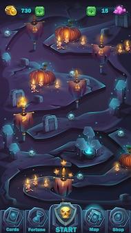 Benutzeroberfläche des cartoon-illustrationsspiels - schreckliche halloween-wand im hintergrund mit kürbiskartenfenster