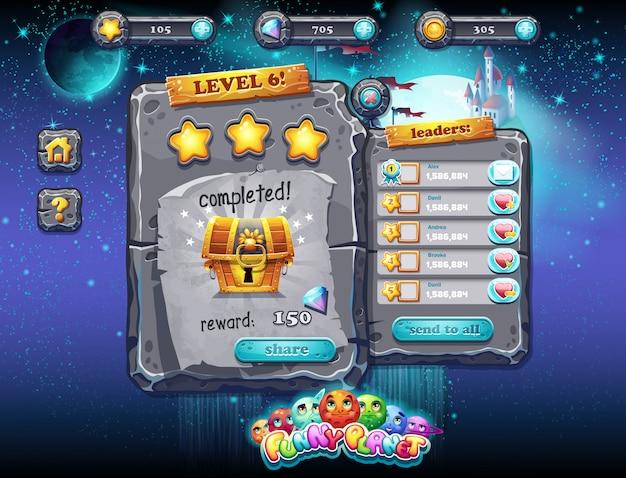 Benutzeroberfläche für computerspiele und webdesign. set 2.