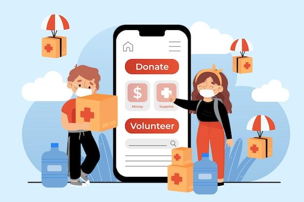 Benutzeroberfläche und bereitstellung der humanitären hilfe-app