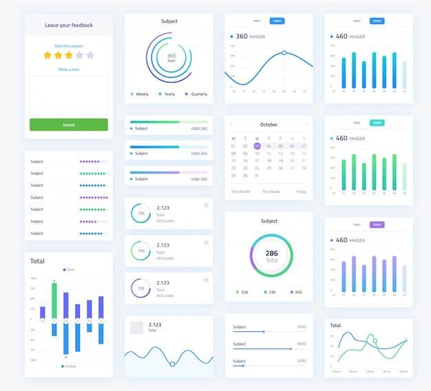 Benutzeroberflächenbildschirm mit analysediagrammen